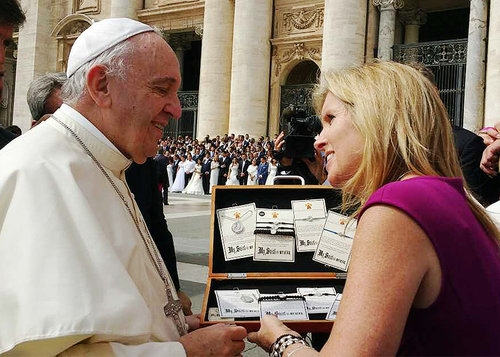 Pope Francis and Christine Rich of My Saint My Hero meet in Rome.  Photo courtesy My Saint My Hero